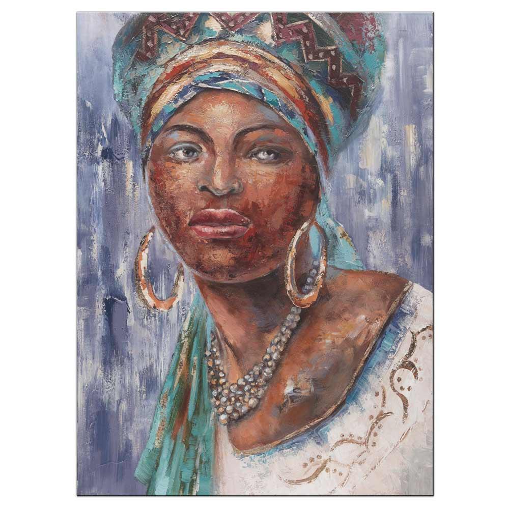 malovaný obraz s portrétem africké ženy - Etno II.
