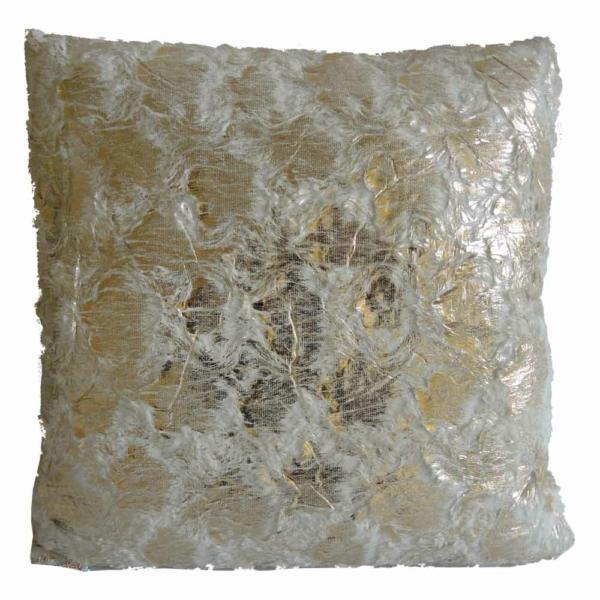 dekorační polštář bílozlatý